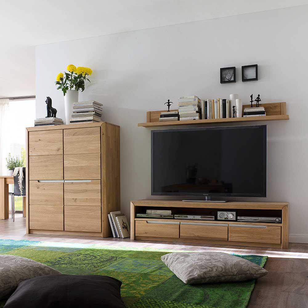 Wohnzimmer Wohnwand aus Wildeiche Massivholz Bianco geölt (dreiteilig)