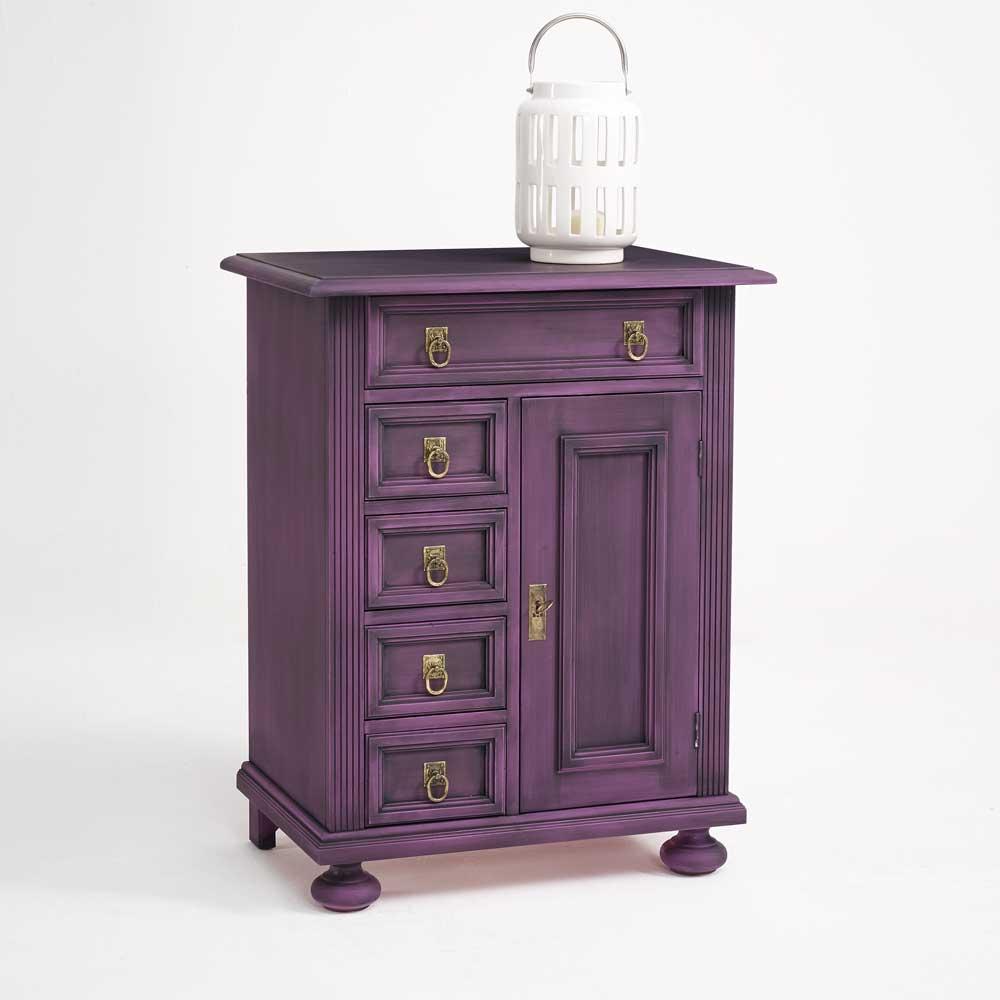 Design Kommode in Violett Fichte Massivholz