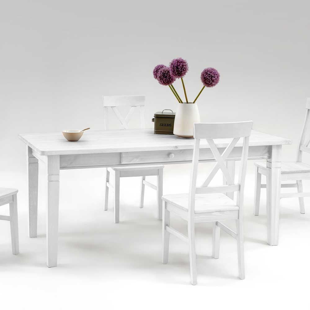 Kiefer Esstisch in Weiß Landhausstil