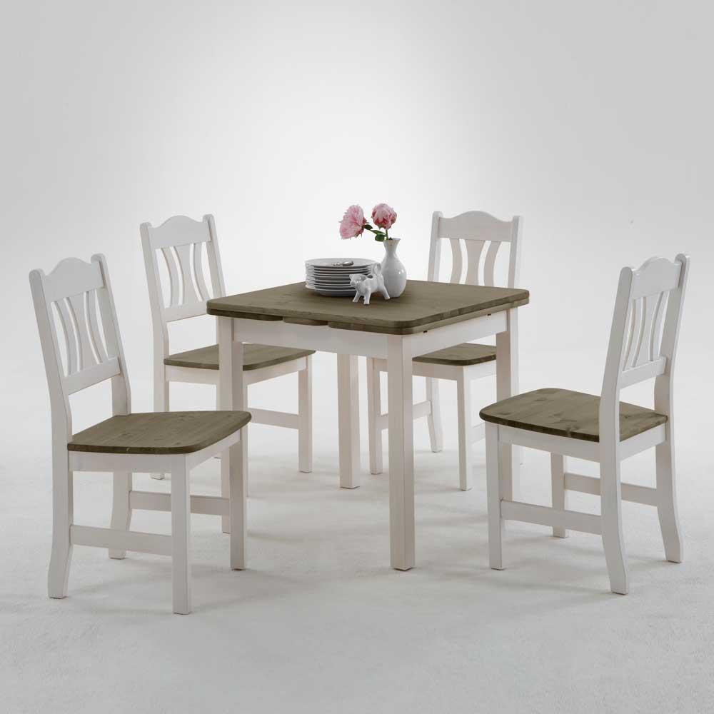 Esstisch mit Stühlen im Landhausstil Weiß Grau (fünfteilig)
