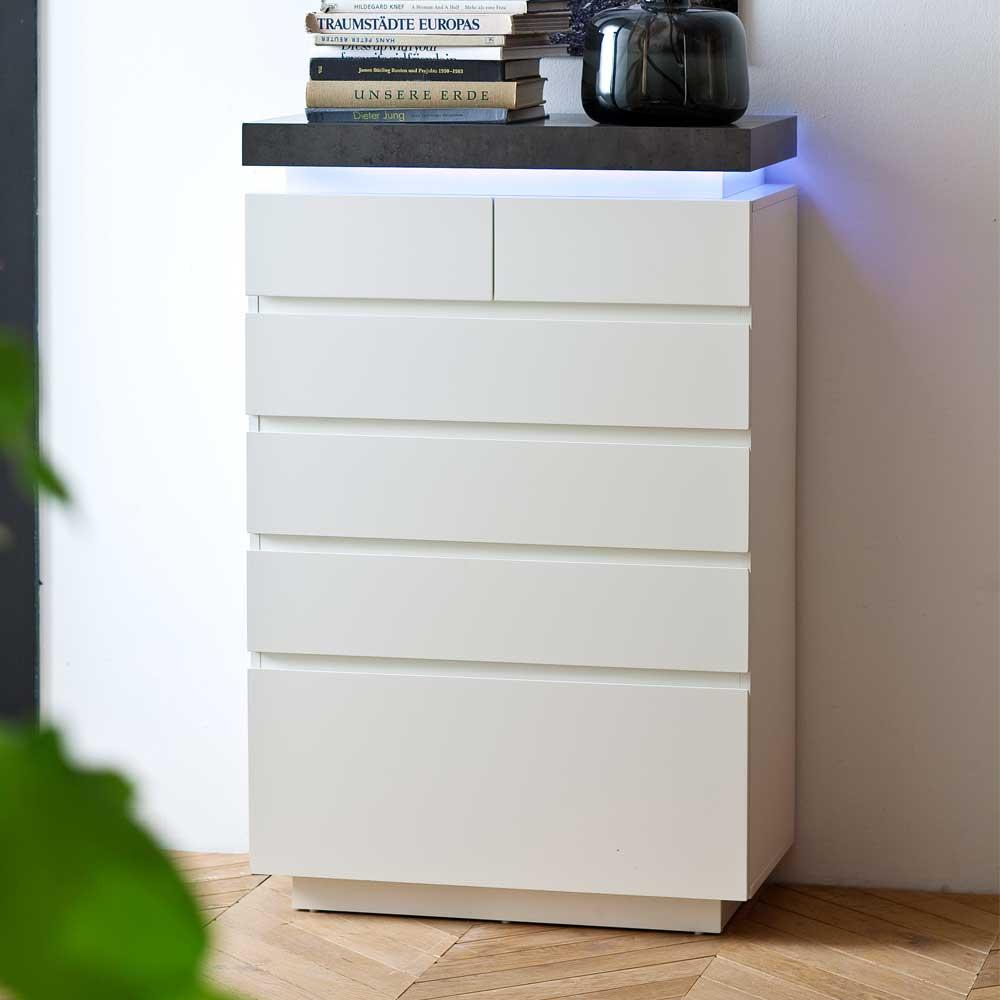 Design Kommode mit dimmbarer Beleuchtung Weiß Grau