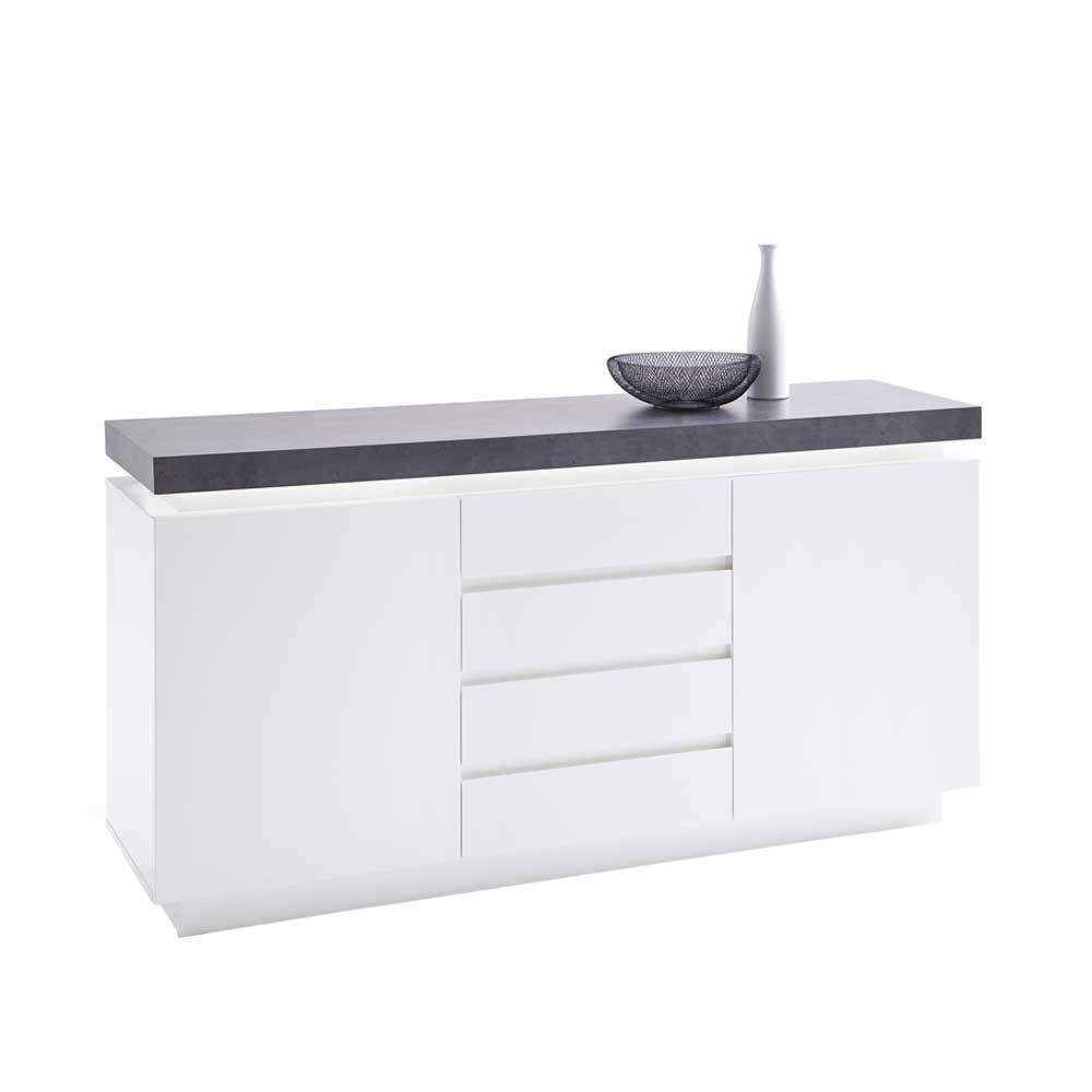 Sideboard in Weiß Grau Beleuchtung