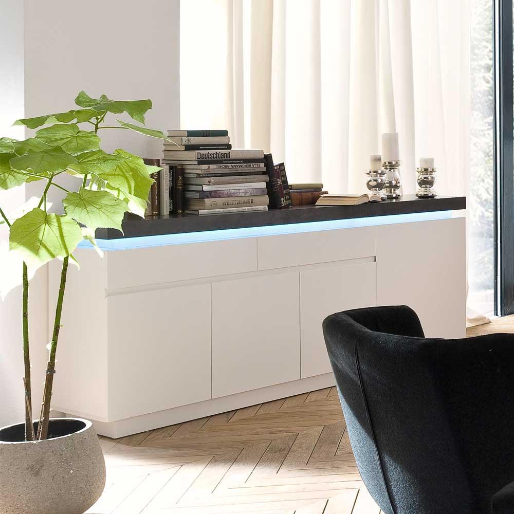 Wohnzimmer Sideboard in Weiß Grau mit dimmbarer Beleuchtung