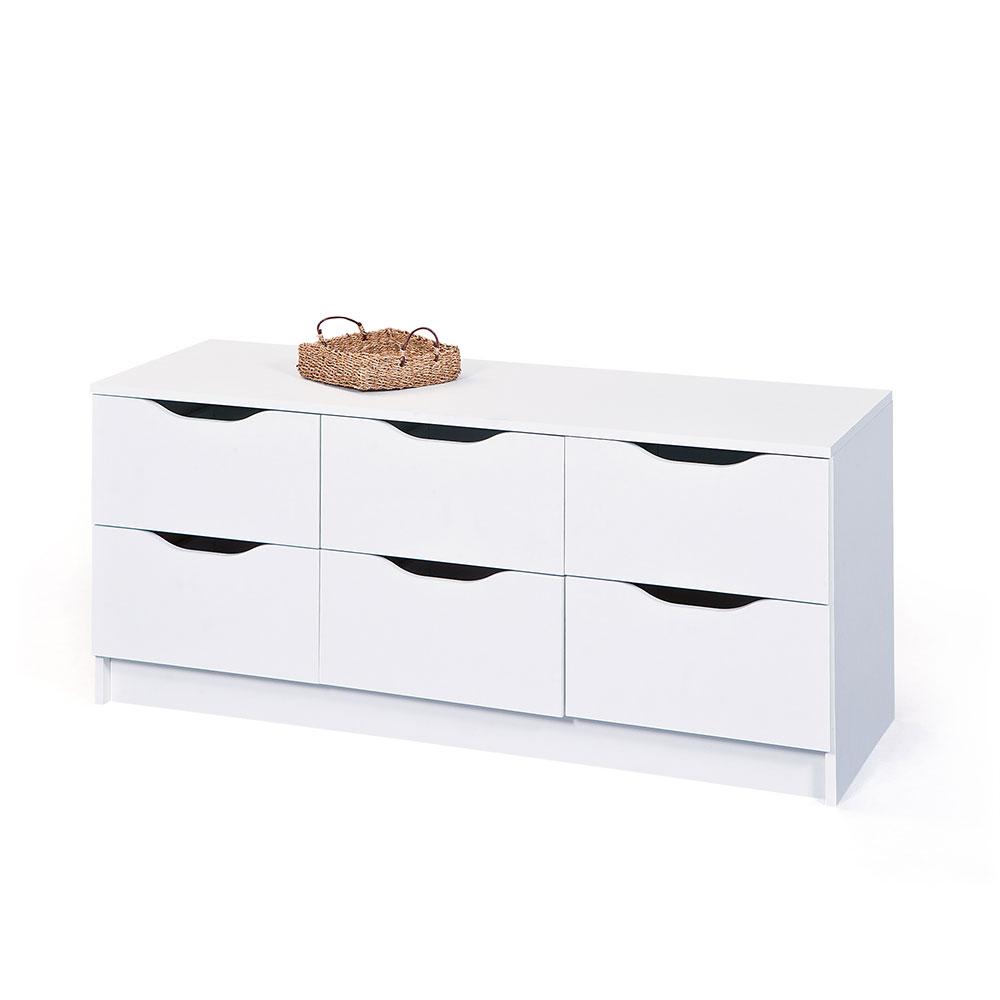 Schubladen Lowboard in Weiß 120 cm