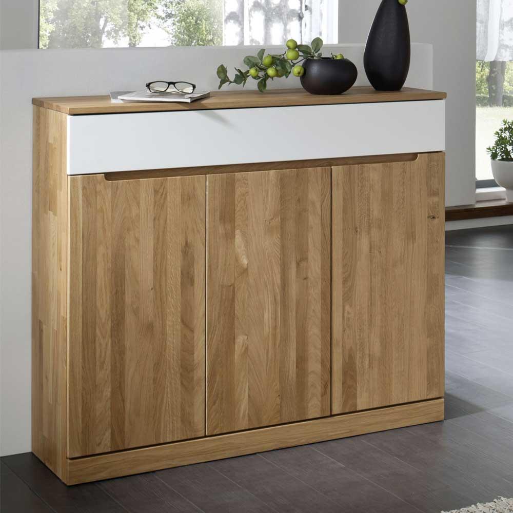 Massivholz Sideboard aus Wildeiche Weiß 120 cm breit