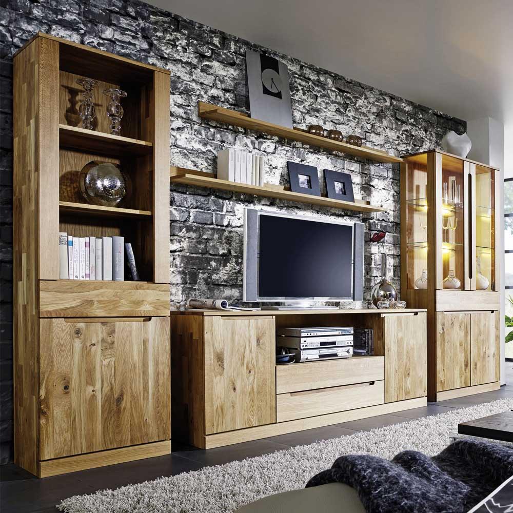 Massivholz Wohnwand aus Wildeiche geölt LED Beleuchtung (fünfteilig)