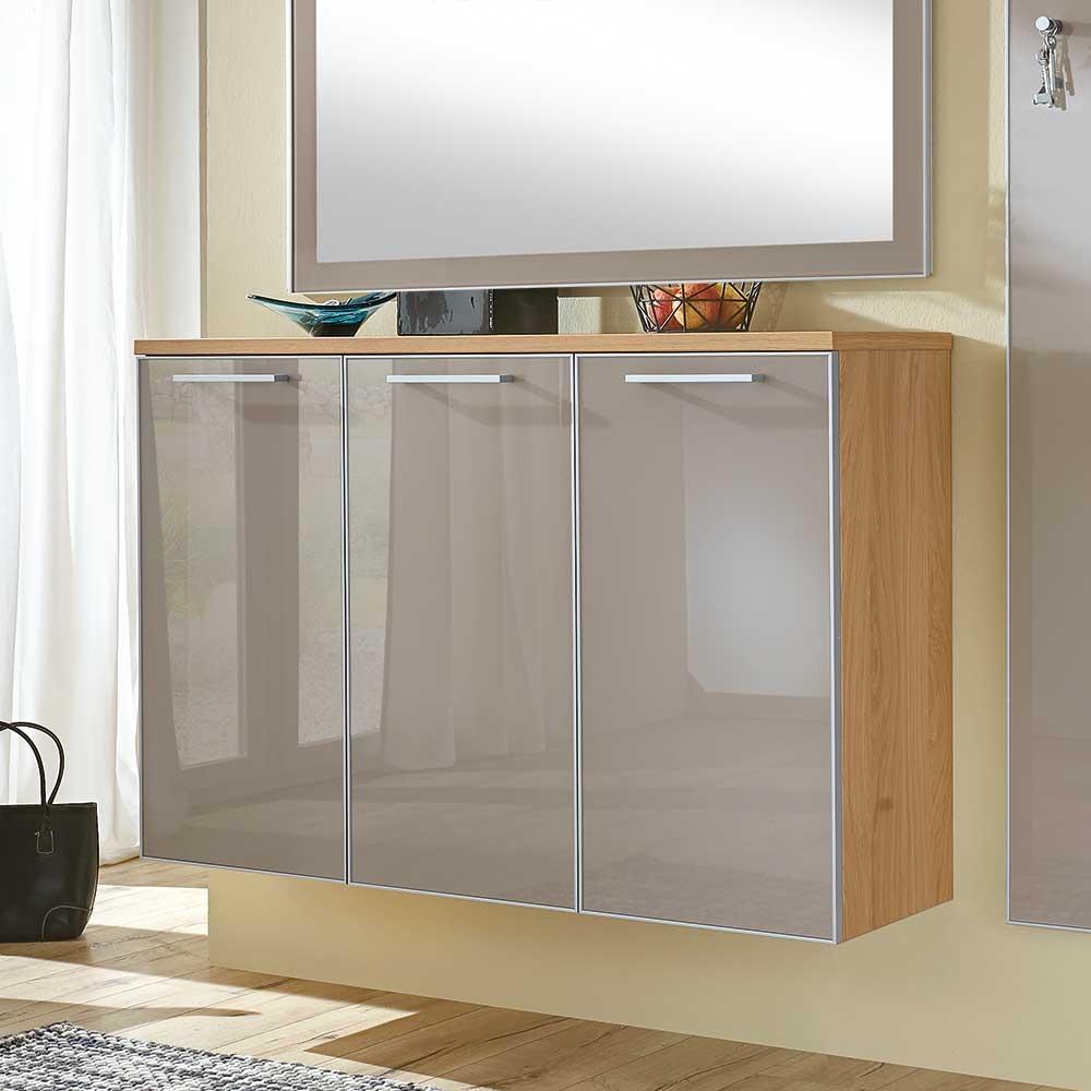 Hängeschuhschrank in Taupe Eiche furniert Glas beschichtet