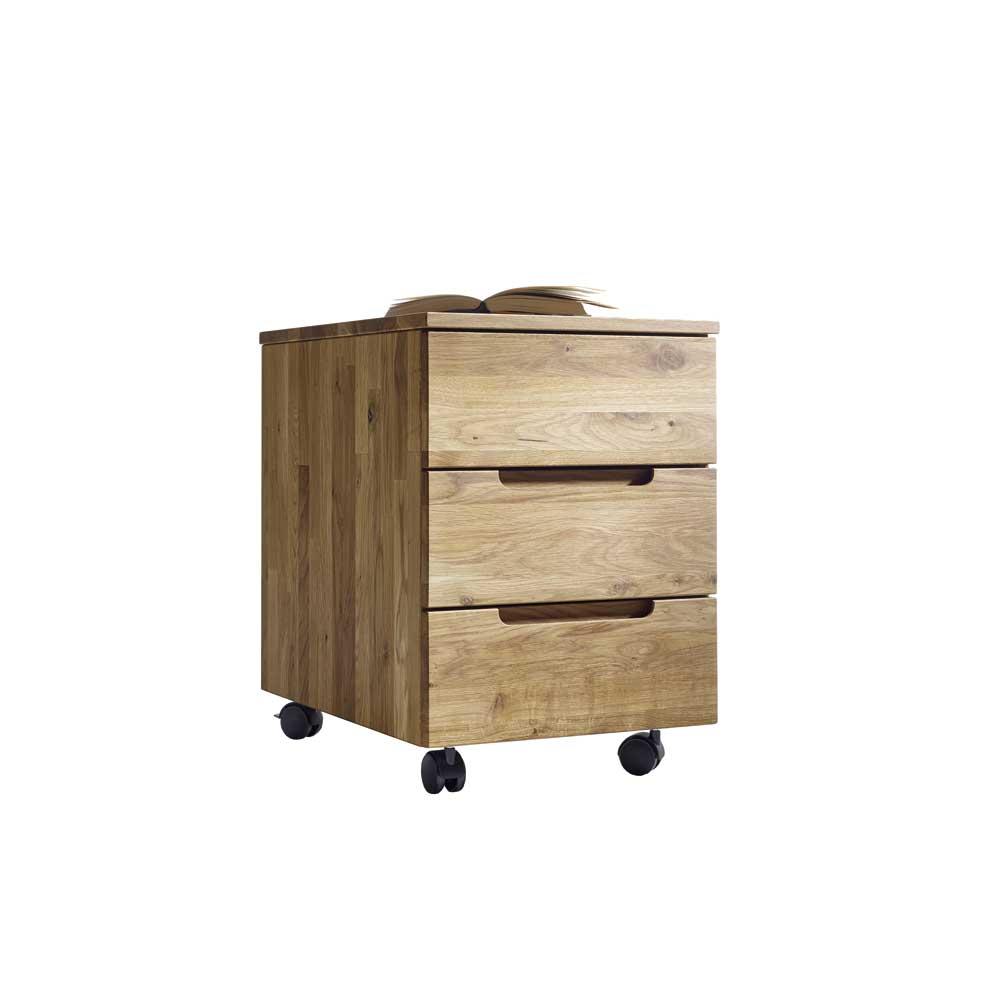 Wildeiche Rollcontainer massiv geölt mit 3 Schubladen