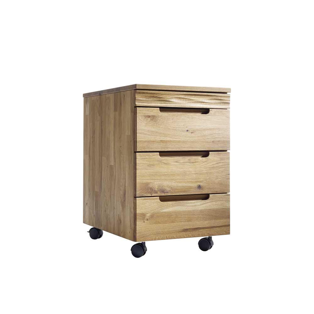 Büro Rollcontainer aus Wildeiche Massivholz geölt