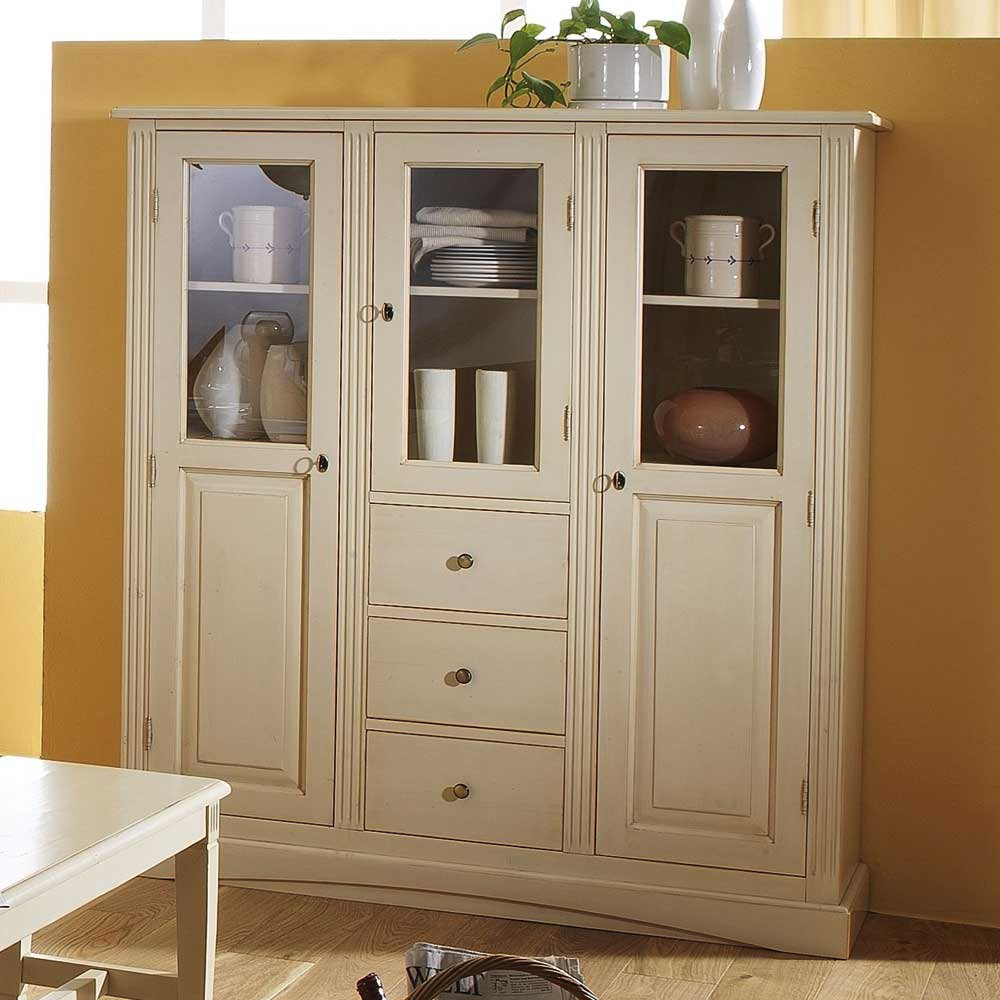 Landhaus Highboard in Creme Fichte Massivholz