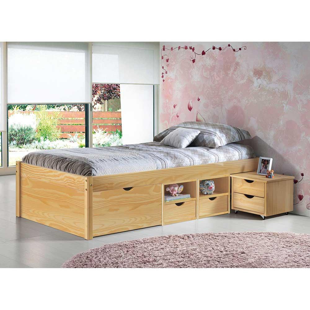 Einzelbett mit Schubladen Kiefer massiv