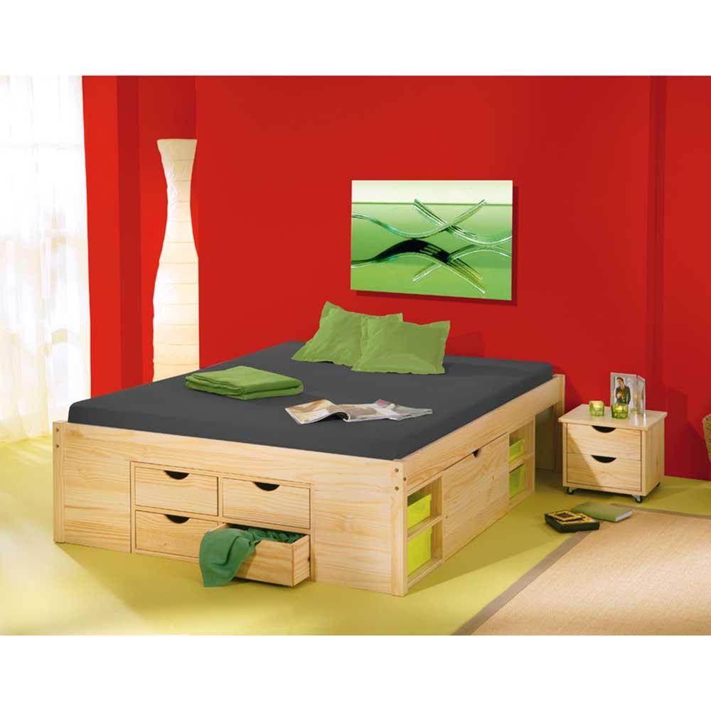 Massivholzbett mit Schubladen ohne Kopfteil (dreiteilig)