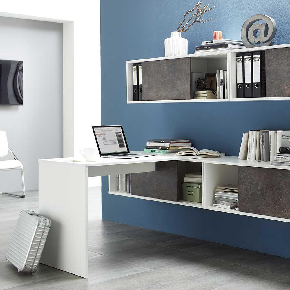 Büro Wandregal mit Schiebetüren Weiß Dunkelgrau Stein Optik | Büro > Büroregale | Braun | Holzwerkstoff | Möbel Exclusive