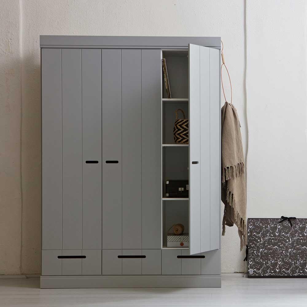 Schlafzimmer Kleiderschrank in Hellgrau skandinavisches Design
