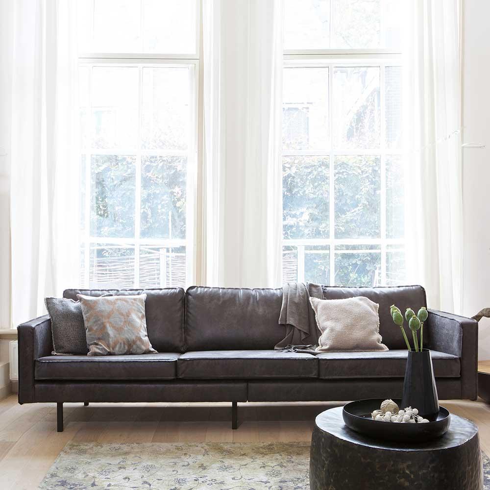 Sofa aus recycling Leder Schwarz