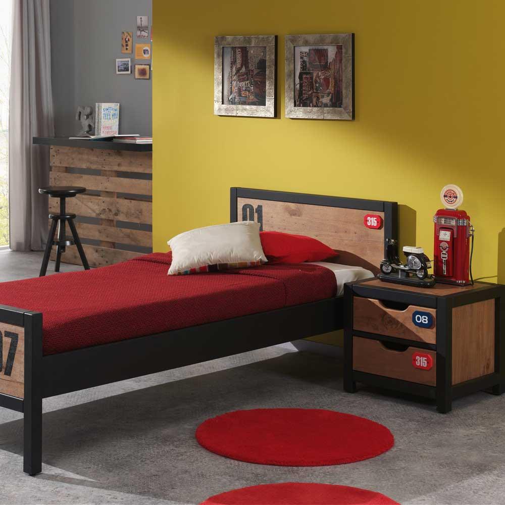 Design Kinderbett in Schwarz Kiefer Nachtkommode (zweiteilig)