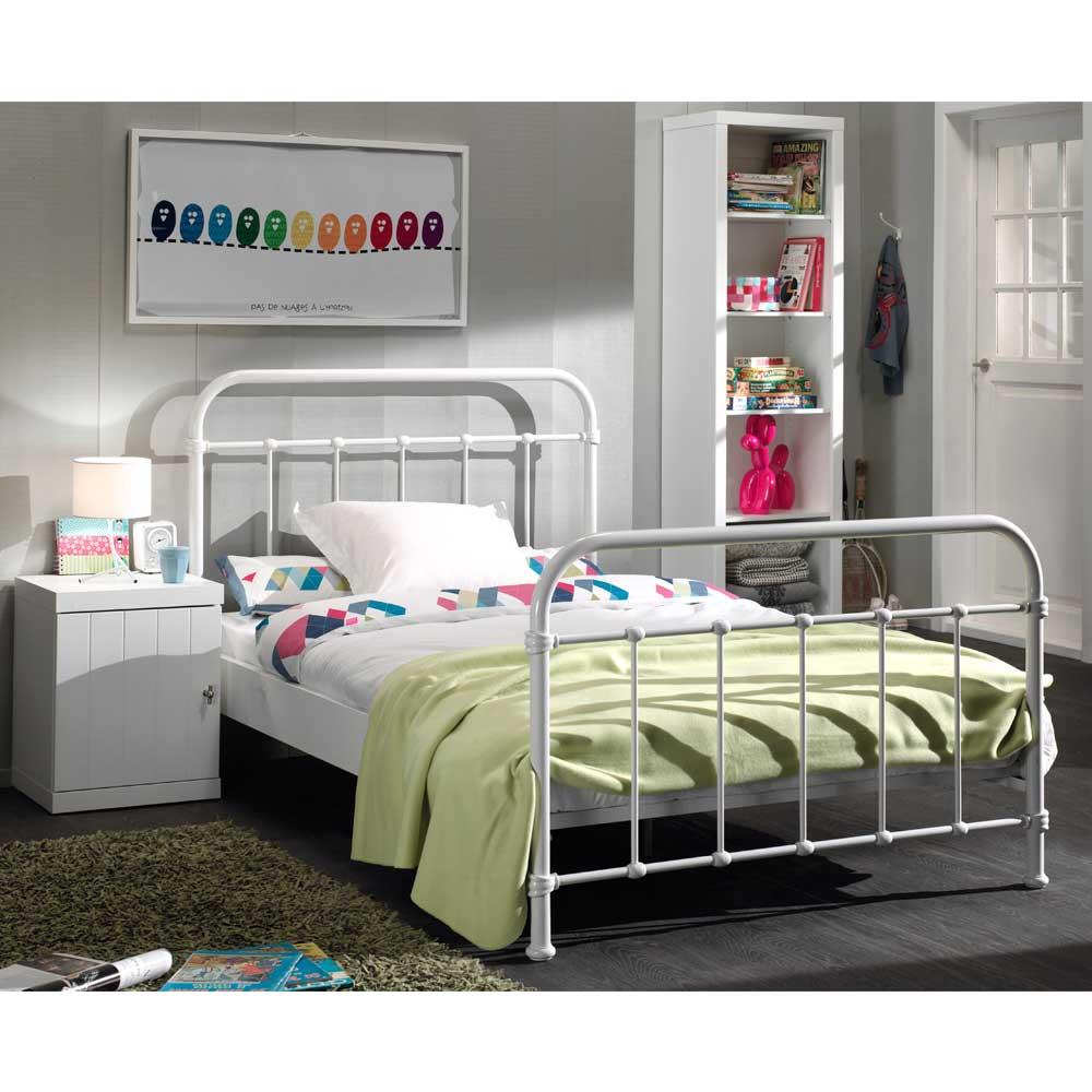 Jugendbett in Weiß Metall