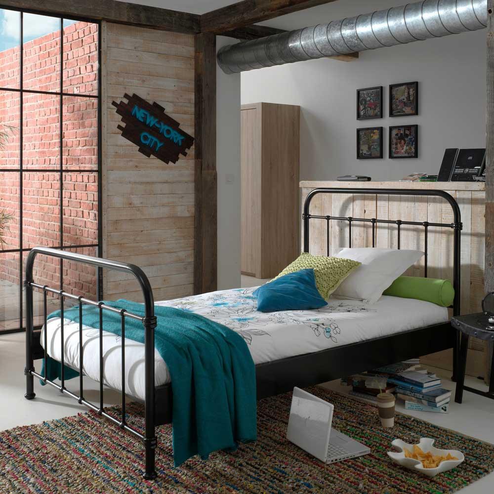 Jugendbett in Schwarz Metall