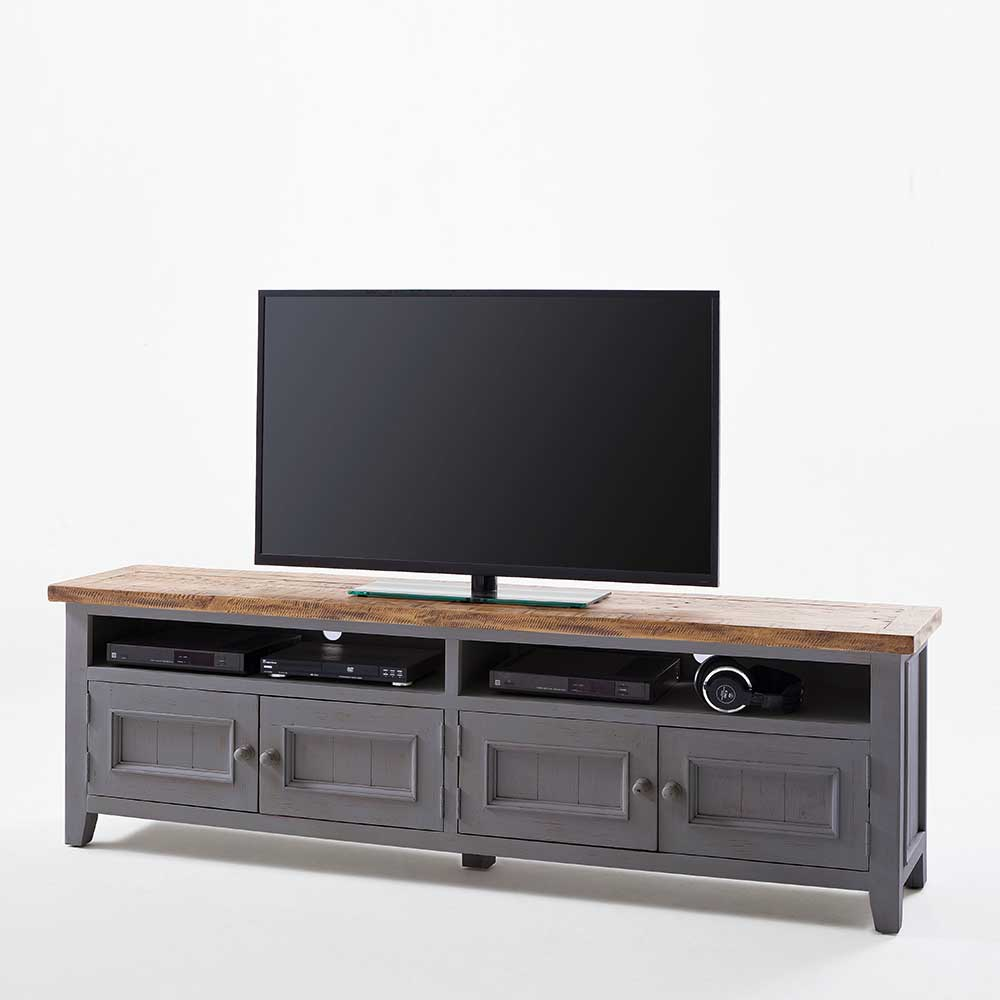 TV Schrank in Grau Kiefer Landhausstil