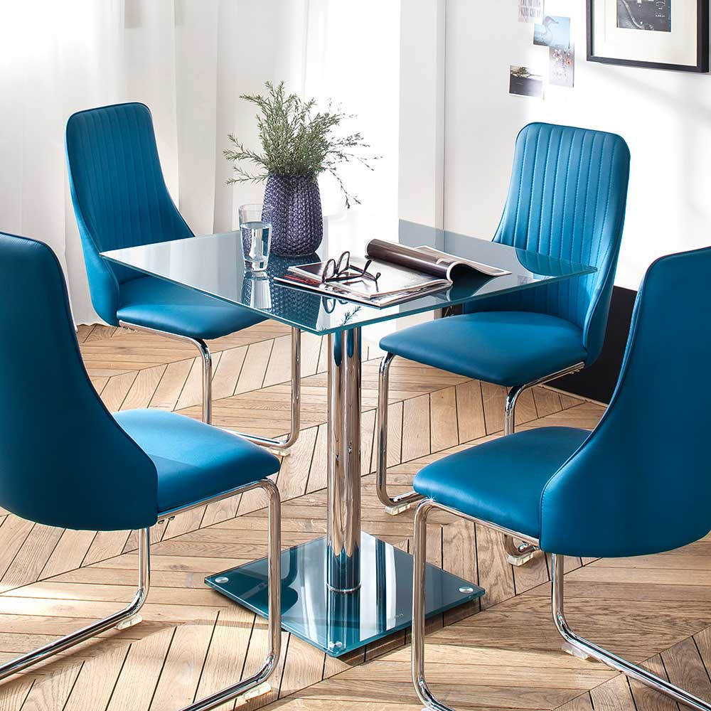 Design Esstisch in Blau Glas