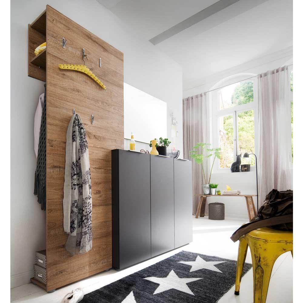 Garderobenset in Anthrazit Eiche modern (3-teilig) | Flur & Diele > Garderoben > Garderoben-Sets | Grau | Holzwerkstoff | TopDesign