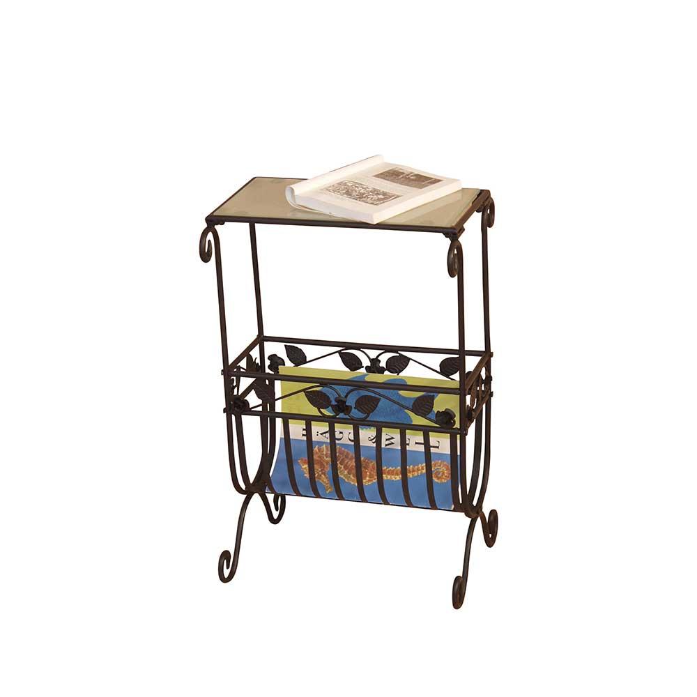 Telefontisch mit Zeitungsablage Schwarz | Flur & Diele > Telefontische | Schwarz | Metall | Möbel4Life