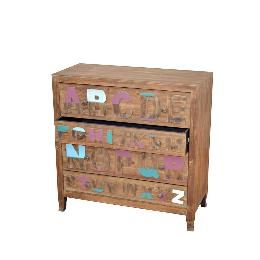 Schubladenkommode mit Buchstaben Bunt | Schlafzimmer > Kommoden > Wäschekommoden | Möbel4Life