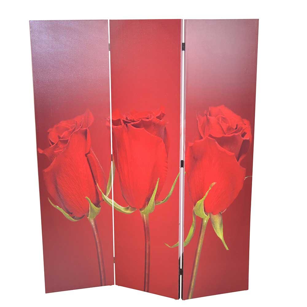Trennwand mit Rosen Motiv Rot Rosa