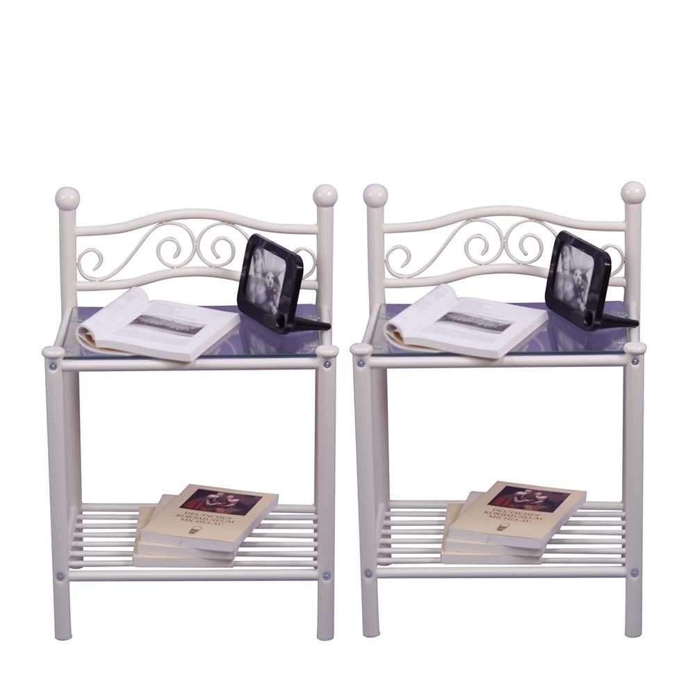 Nachttisch in Weiß Metall Glas (2er Set)