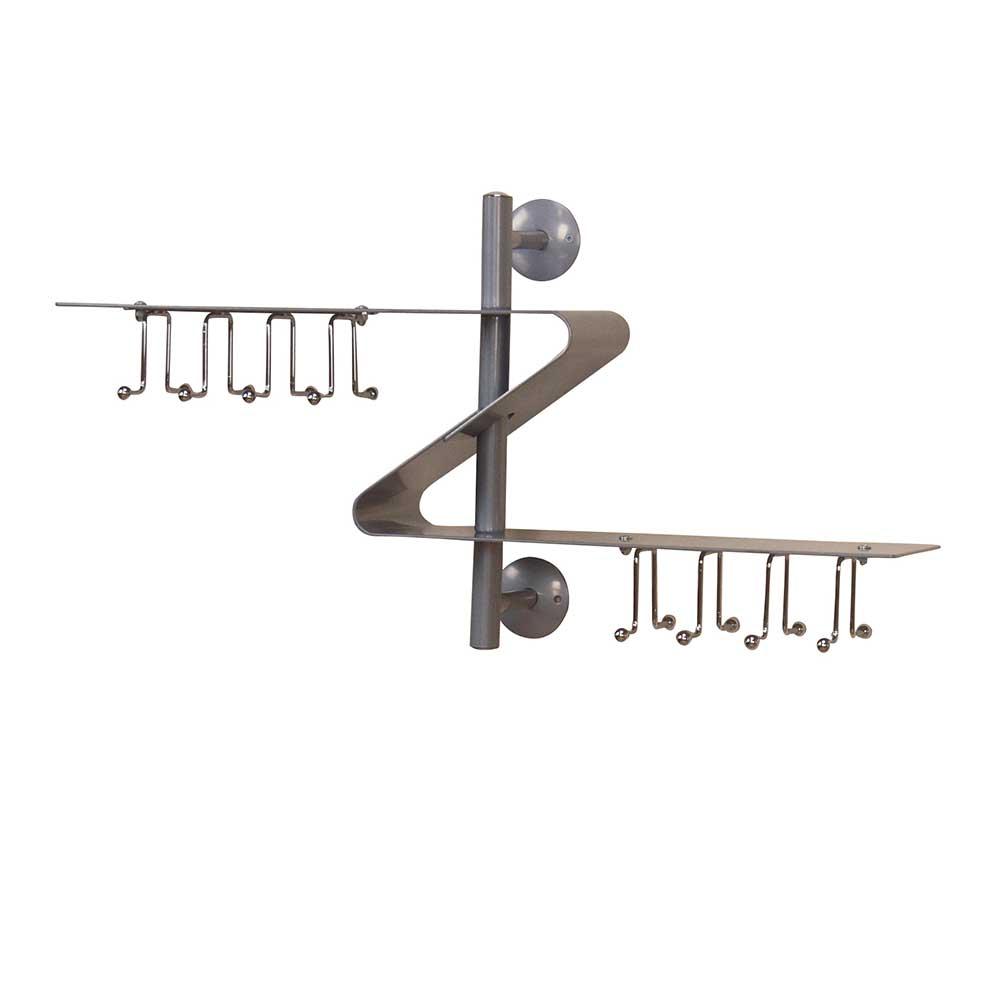 Hängegarderobe in Alufarben S-Form | Flur & Diele > Garderoben > Garderobenhaken | Grau | Metall | Möbel4Life