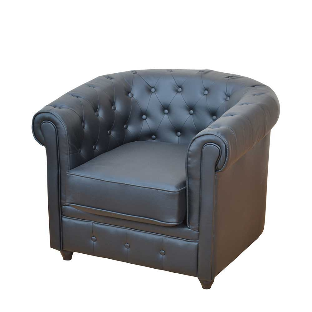 Chesterfield Sessel in Schwarz Kunstleder