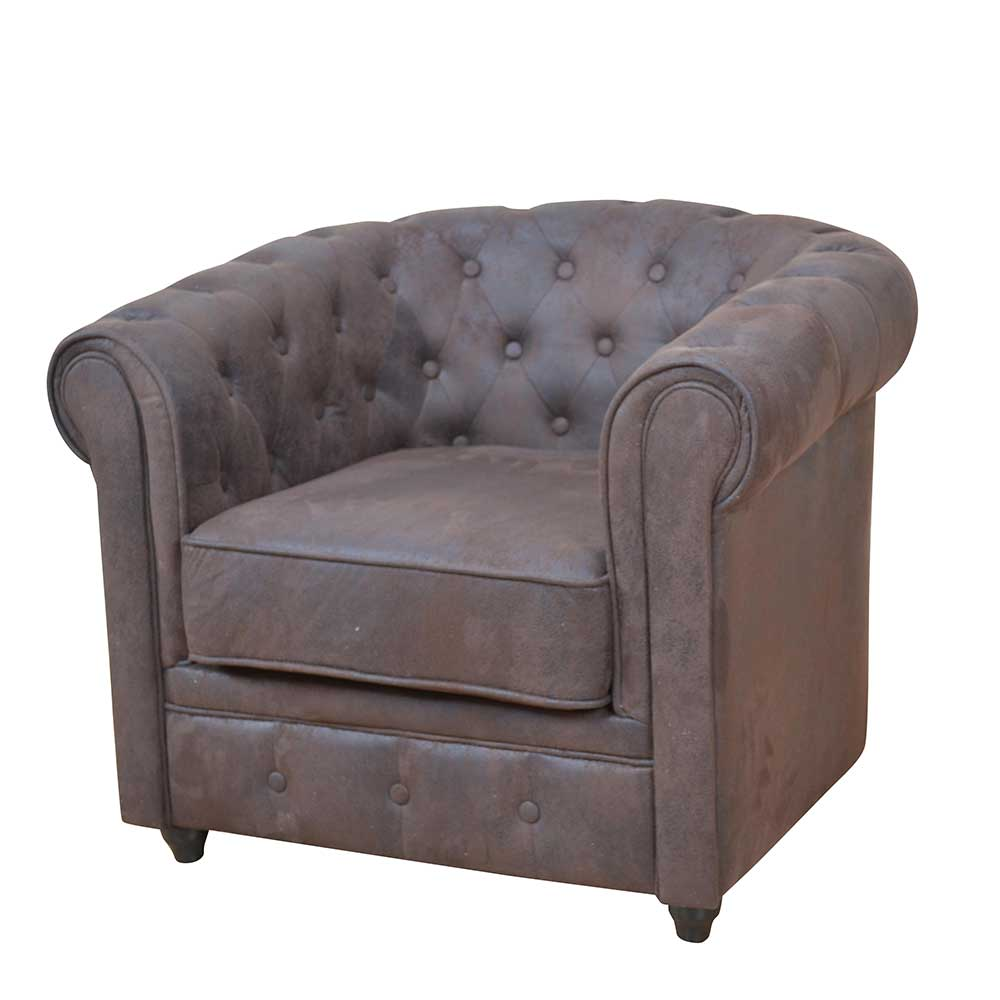 Polstersessel in Braun Chesterfield Design