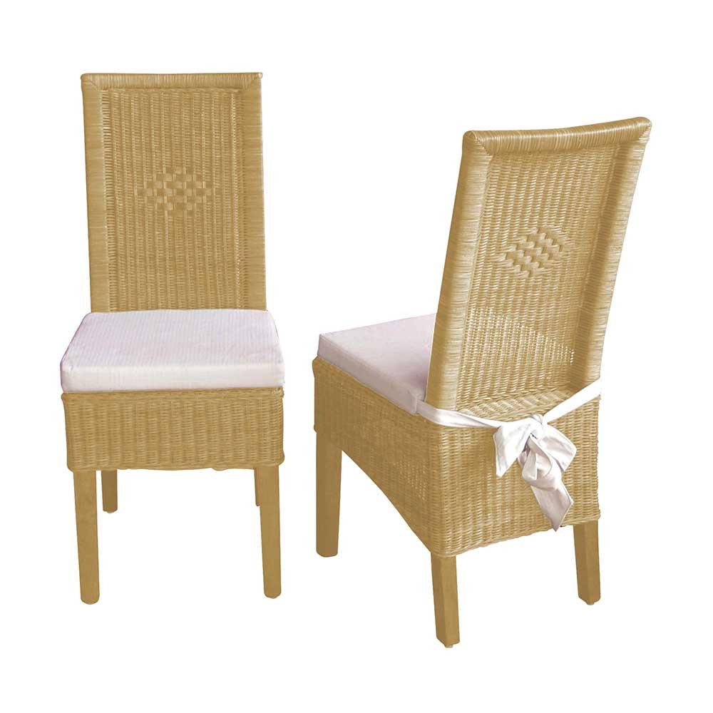 Rattanstuhl Set in Beige Esszimmer (2er Set) | Wohnzimmer > Sessel > Rattansessel | Beige | Geflecht | Möbel4Life