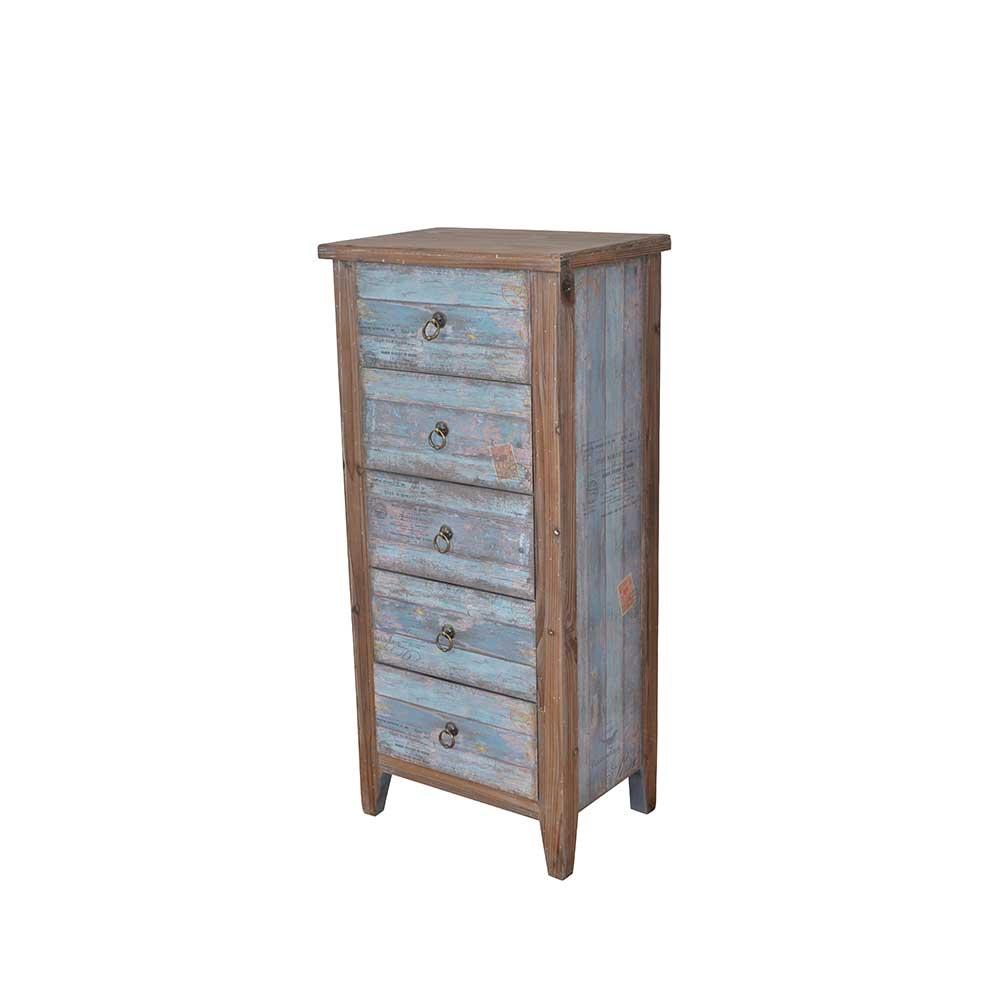 Shabby Chic Kommode in Blau Holz 5 Schubladen