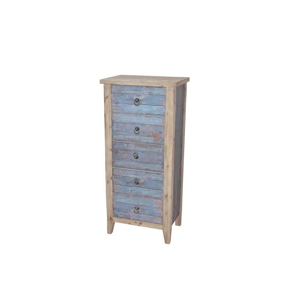 Schubladenkommode in Blau Holz Shabby Chic