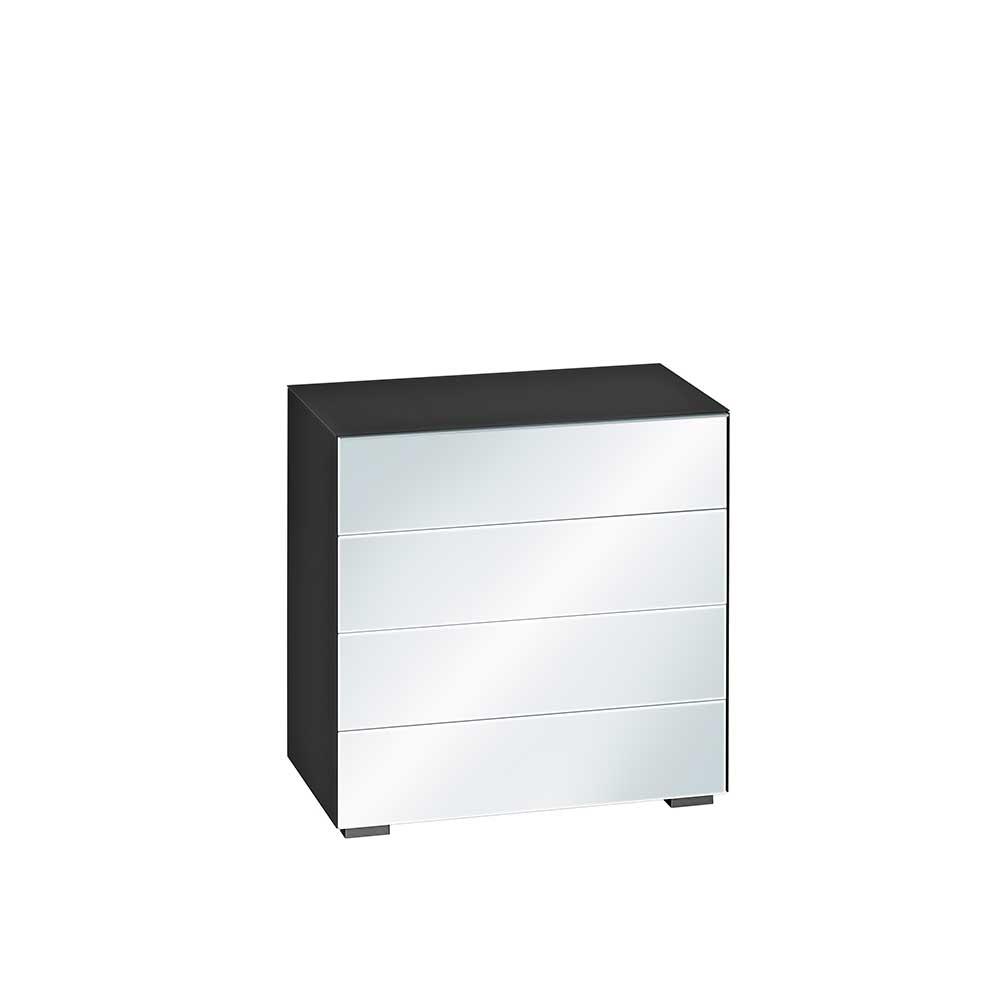 Flur Kommode in Schwarz Spiegelglas Schubladen | Flur & Diele > Regale für Flur und Diele > Standregale für Flur und Diele | Müllermöbel