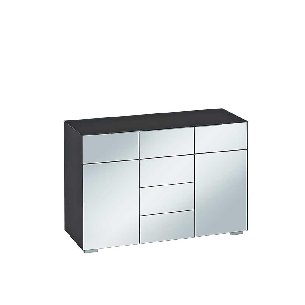 Wohnzimmer Sideboard in Schwarz Weiß Glas beschichtet
