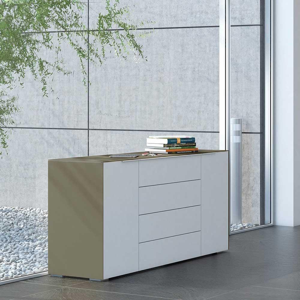 Wohnzimmer Sideboard in Weiß Beige Glas beschichtet