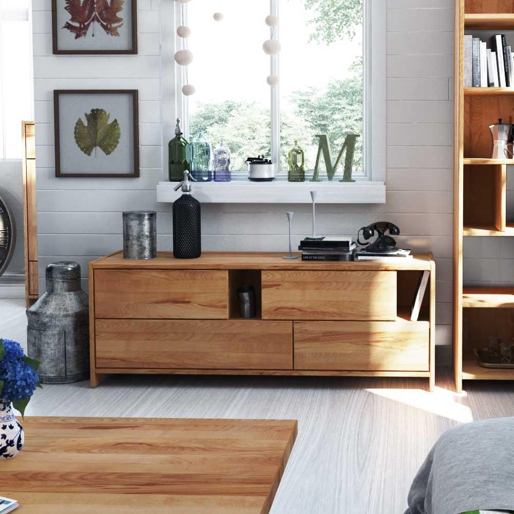 Massivholz Lowboard aus Kernbuche geölt modern