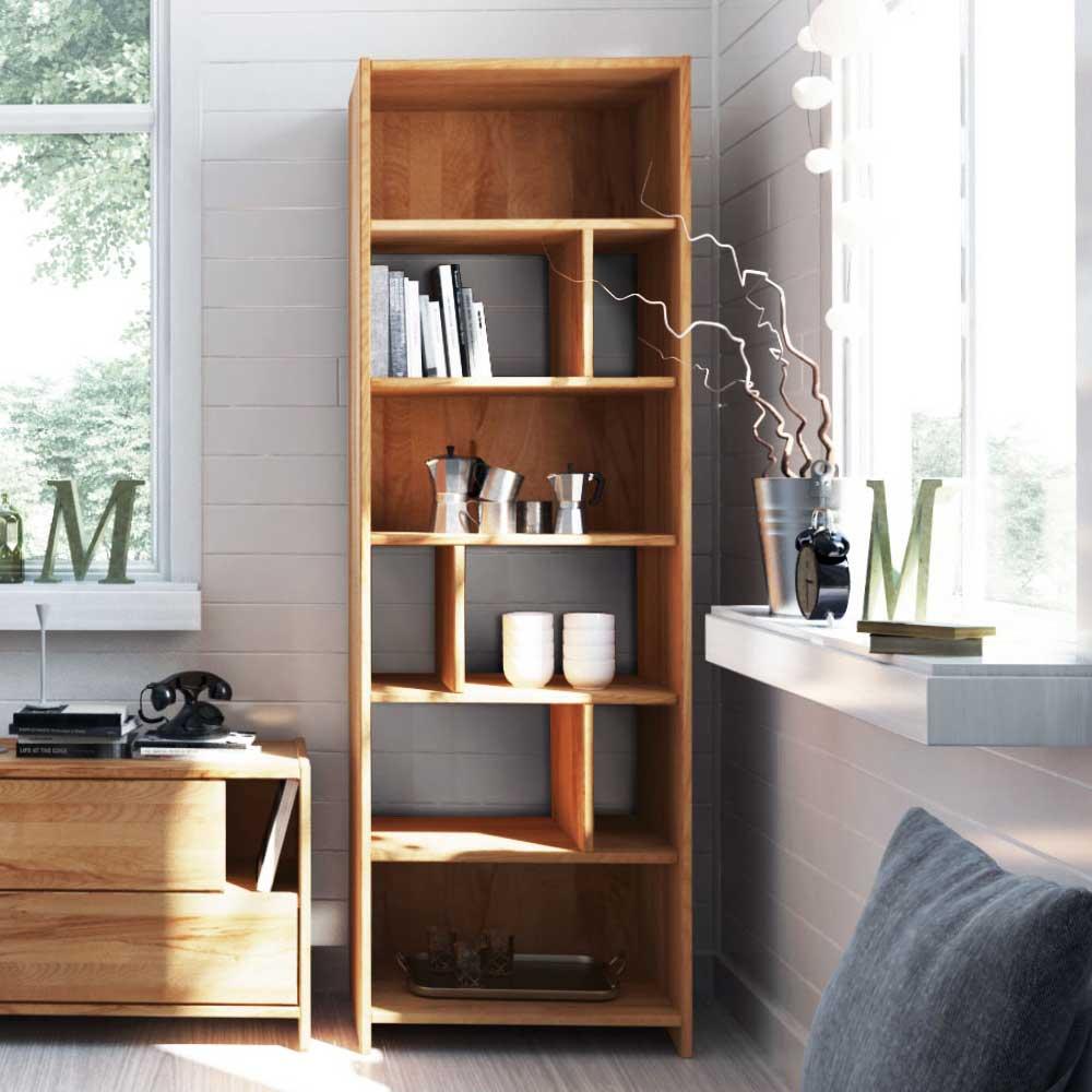 Standregal aus Kernbuche Massivholz 190 cm hoch | Wohnzimmer > Regale > Einzelregale | Holz | Massivholz | Basilicana