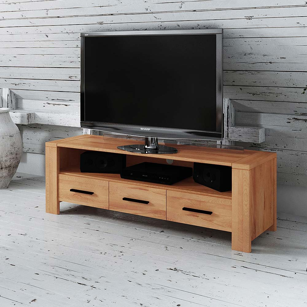 Fernsehmöbel aus Kernbuche Massivholz 50 cm hoch