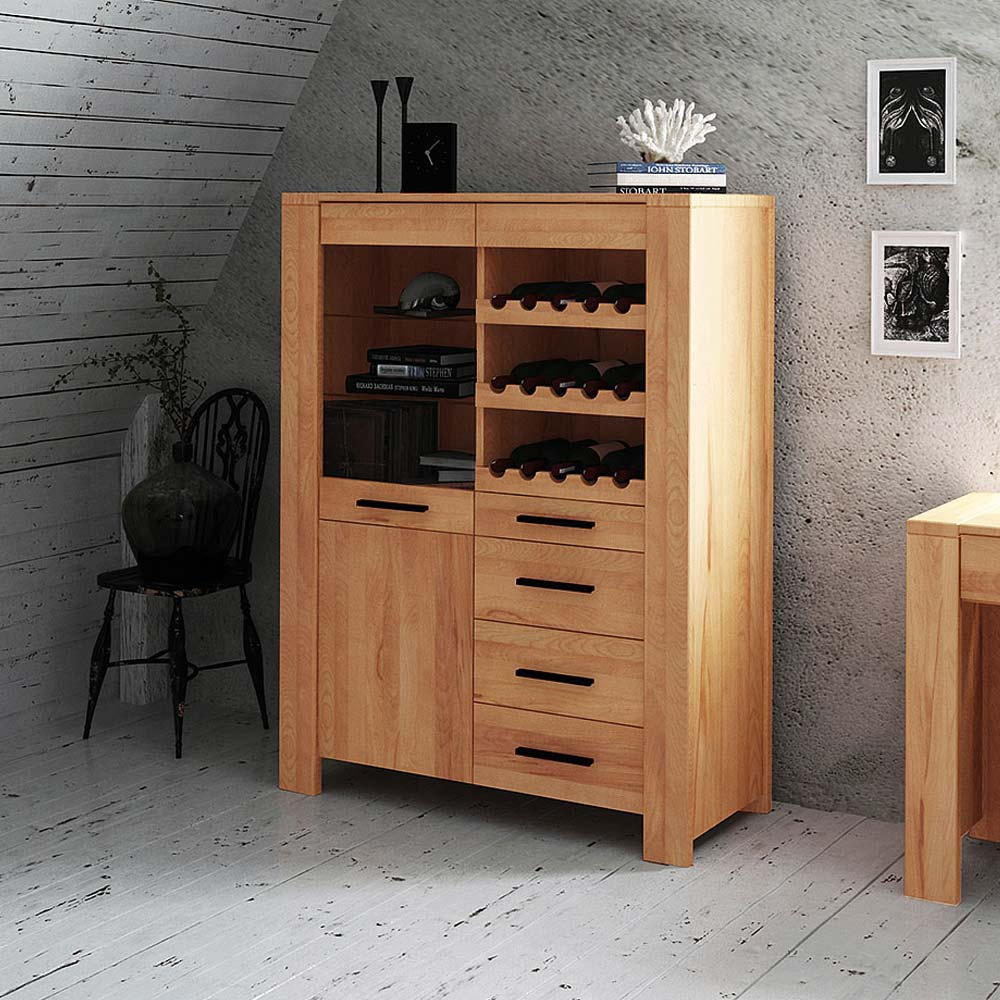 Massivholz Barschrank aus Kernbuche geölt 110 cm | Küche und Esszimmer > Bar-Möbel > Barschränke | Basilicana