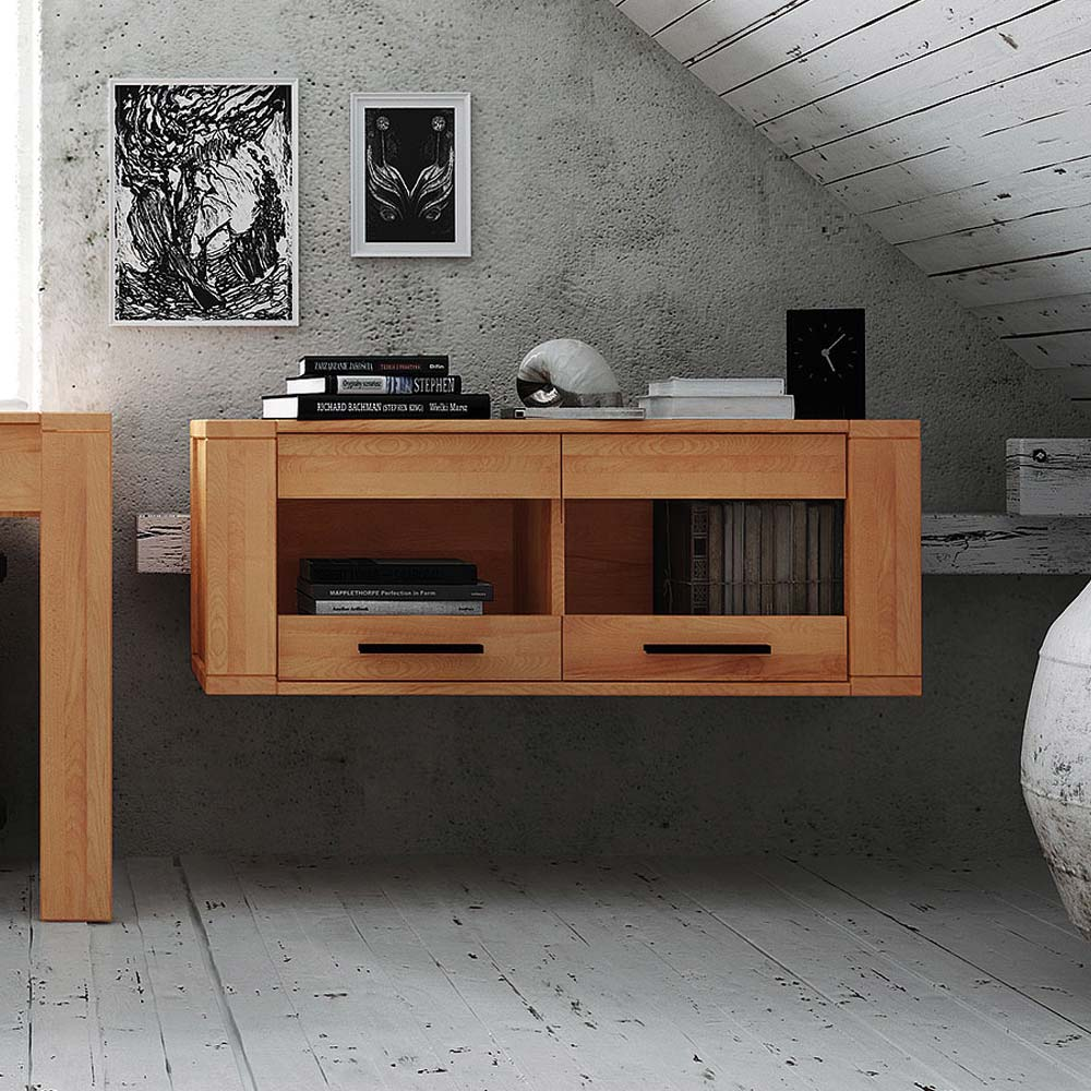Hängevitrine aus Kernbuche Massivholz 110 cm | Wohnzimmer > Vitrinen > Hängevitrinen | Holz | Massivholz | Basilicana