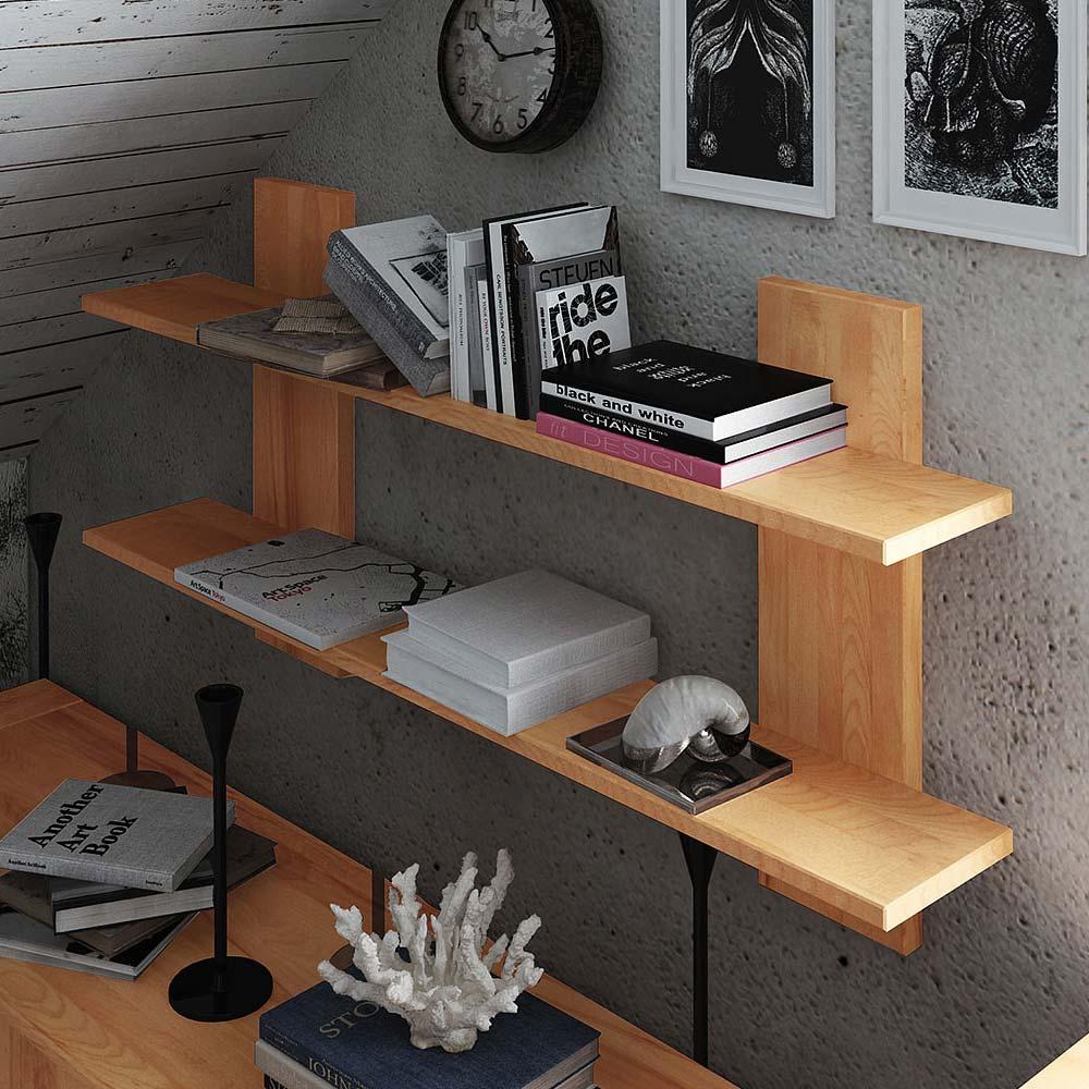 Hängeregal aus Kernbuche Massivholz 120 cm | Wohnzimmer > Regale > Hängeregale | Holz | Massivholz | Basilicana