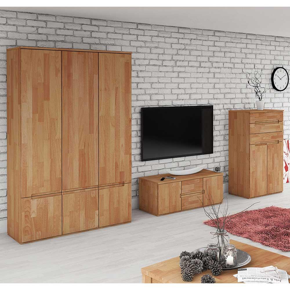 Wohnzimmer Wohnwand aus Buche Massivholz geölt (dreiteilig)