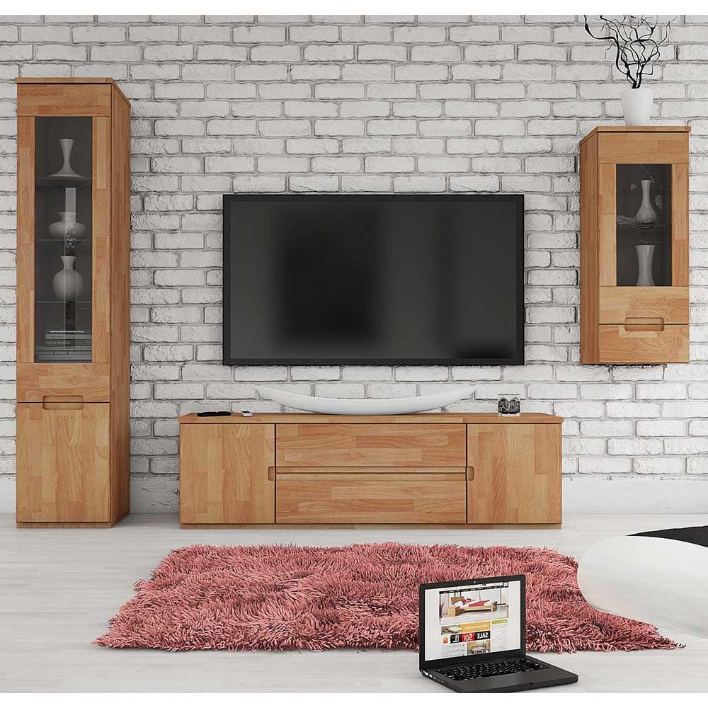 Wohnzimmer Schrankwand aus Buche Massivholz geölt (3-teilig)