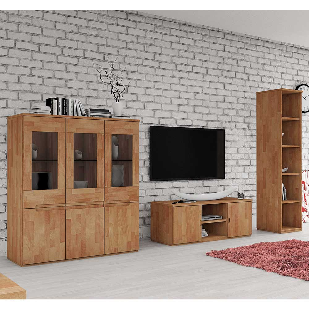 buche wohnwand massiv ge lt 260 cm 3 teilig drk. Black Bedroom Furniture Sets. Home Design Ideas