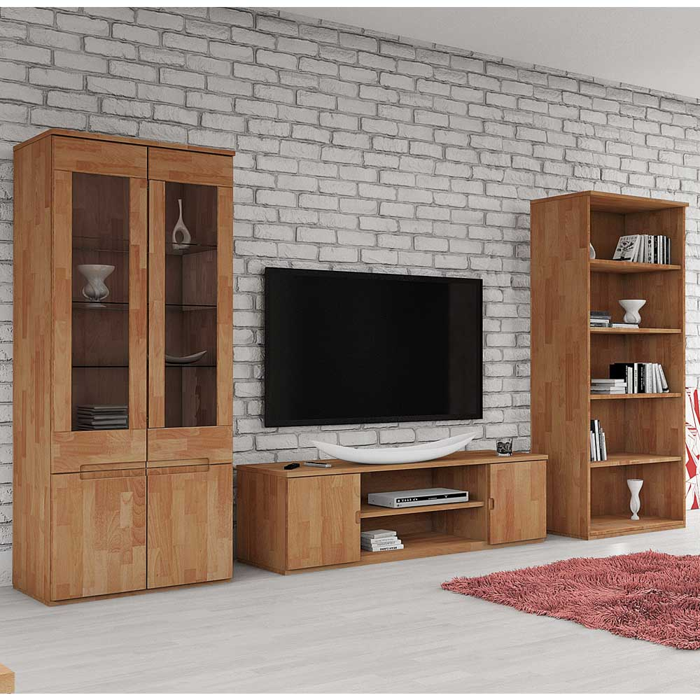 Wohnkombination aus Buche Massivholz geölt (3-teilig)