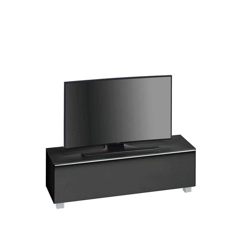 TV Board in Schwarz Glas Schwarz