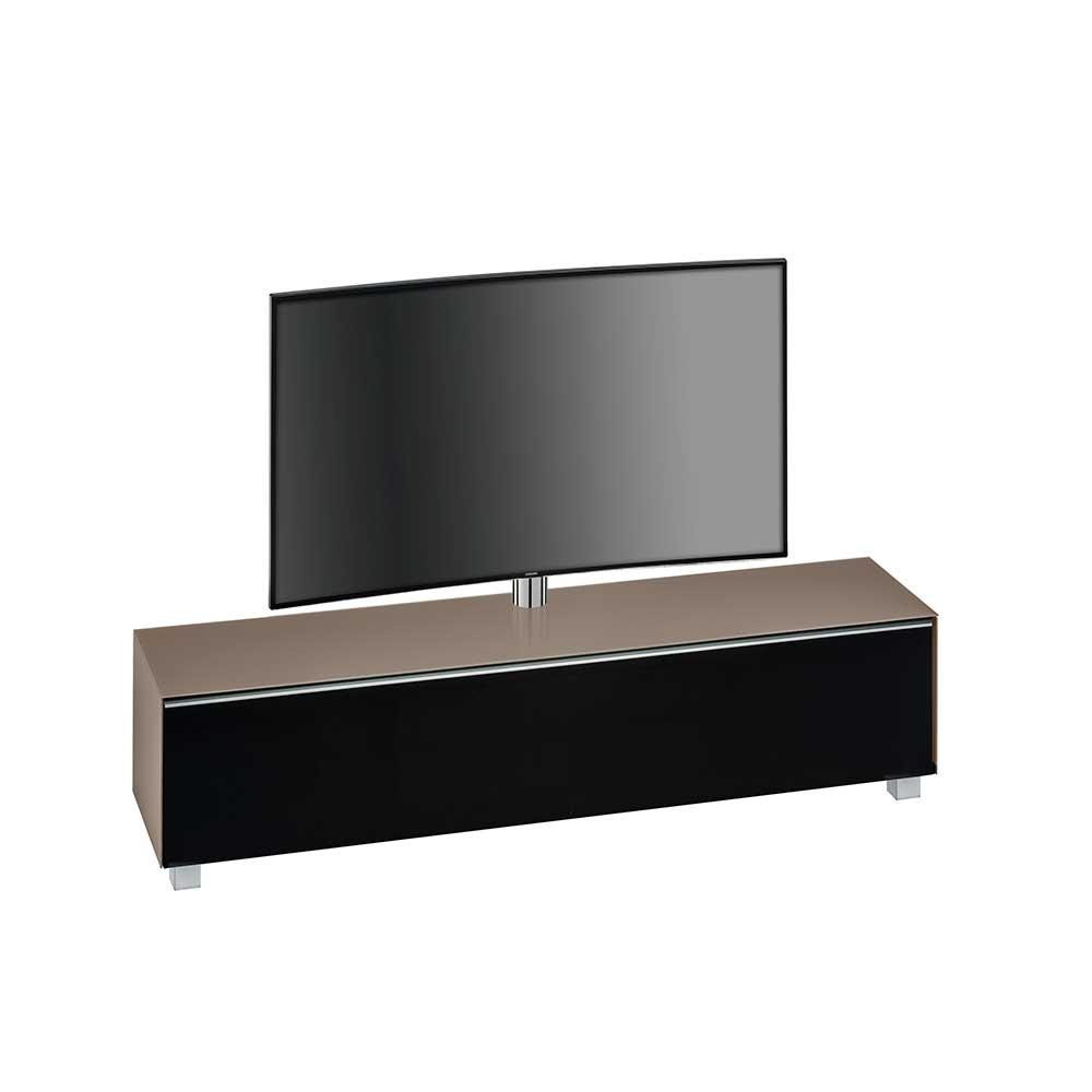 Fernsehmöbel mit TV Halterung Beige Schwarz | Wohnzimmer > TV-HiFi-Möbel > TV-Halterungen | Beige | Holzwerkstoff | Müllermöbel